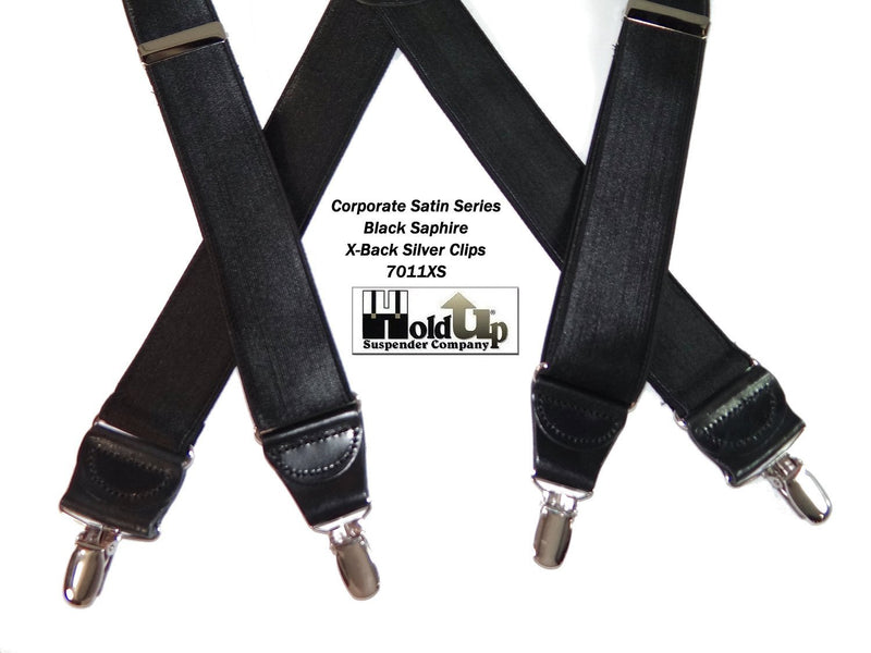 "Hold-Ups Black Satin Finish 1 1/2"" Wide in X-back suspenders with Patented No-slip Silver Clips"