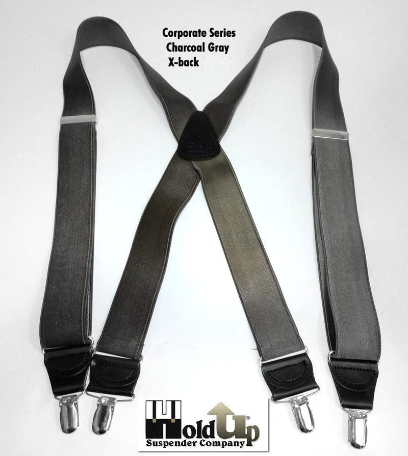 "Hold-Ups Charcoal Grey 1-1/2"" Wide Suspenders X-back with Silver Clips"