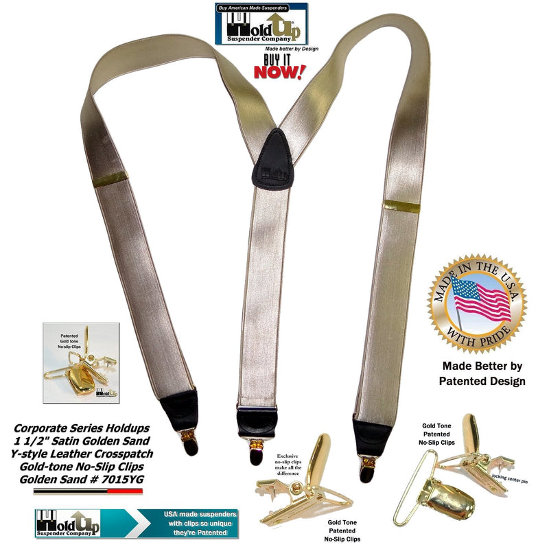 Golden Tan Satin Finish Holdup Y-back Suspenders with Patented No-slip Gold-tone Clips