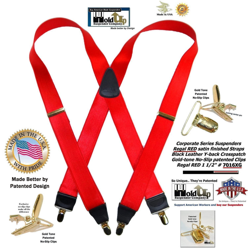 Holdup Regal Red Satin Finish X-back suspenders with Patented No-slip Gold-tone Clips
