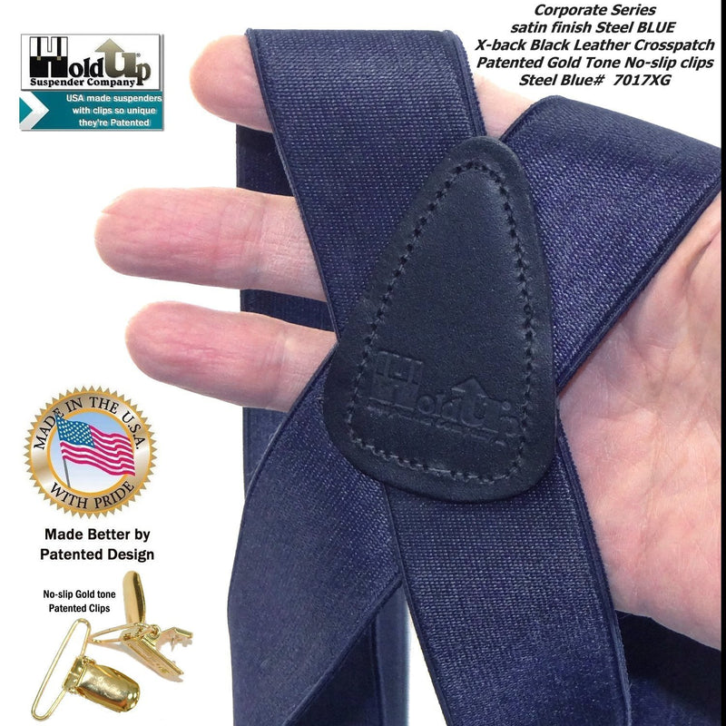 Holdup Brand Deep Steel Blue Satin Finish Suspenders in X-back style with Patented gold tone No-slip Clips