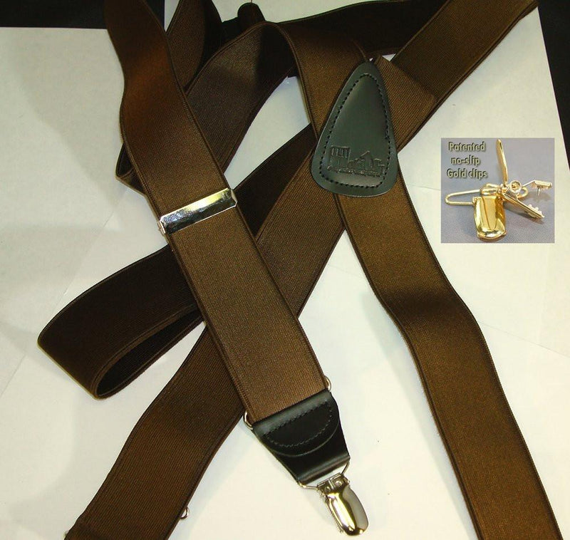 "Hold-Ups 1 1/2"" Walnut Brown Satin Finish Suspenders X-back style and Patented No-slip Gold Clips"