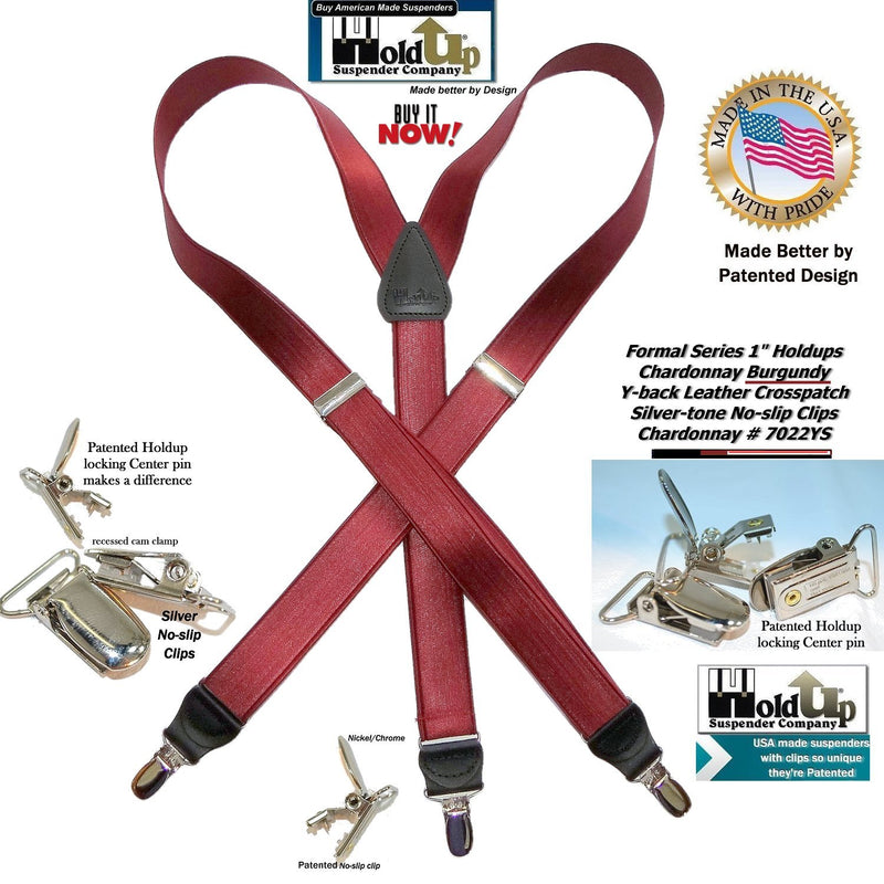 54136978ee1 Holdup Brand Formal Series Chardonnay Burgundy Men s Y-back Suspenders with  Silver-tone No
