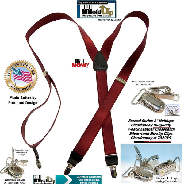 Holdup Brand Formal Series Chardonnay Burgundy Men's Y-back Suspenders with Silver-tone No-slip Clips