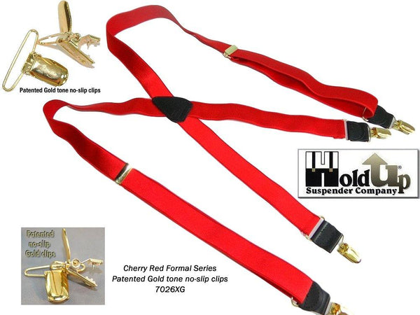 HoldUp brand Cherry Red narrow Satin Finish X-back style Suspenders with Patented No-slip Gold Clips