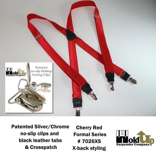 "Hold-Ups Red 1"" Wide Satin Finish in X-back style Suspenders with Patented No-slip Silver Clips"