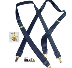 Hold-Ups Formal Series Satin Finished dark Blue X-back suspenders with Gold tone no-slip clips
