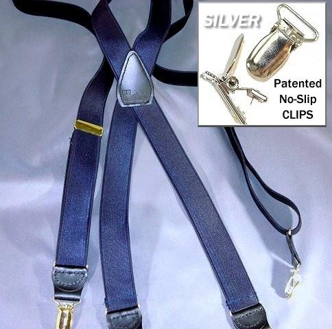 "Hold-Ups Satin Blue 1 "" Wide Formal Suspenders in X-back Style with Silver no-slip Clips"