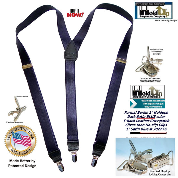 "Hold-Ups 1"" wide Y-back Satin finished Dark Blue formal suspenders with patented no-slip silver clips"