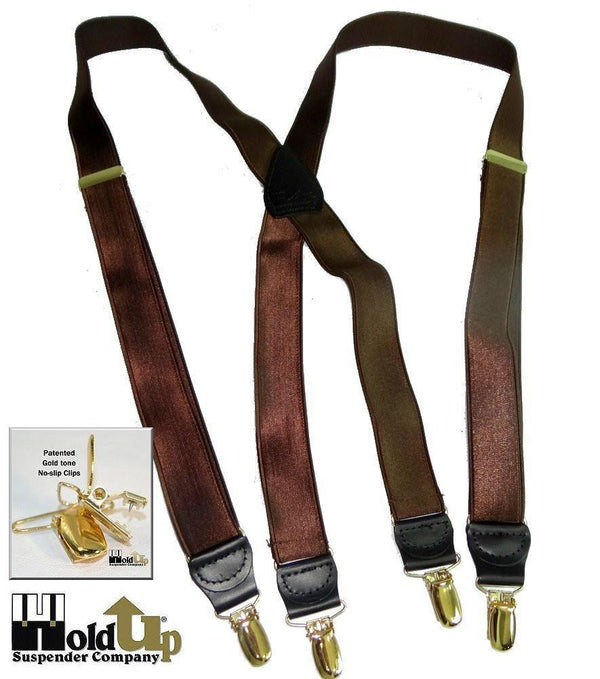 "Hold-Ups 1"" Wide Satin Finish Chocolate Brown Suspenders with X-back and Gold No-slip Clips"