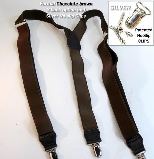"Hold-Ups 1"" Wide Satin Finish Chocolate Brown Suspenders with Y-back and Silver"
