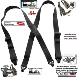 Holdup Brand No-buzz Airport Friendly Black X-Back Suspenders with composite plastic strong Patented Gripper Clasps