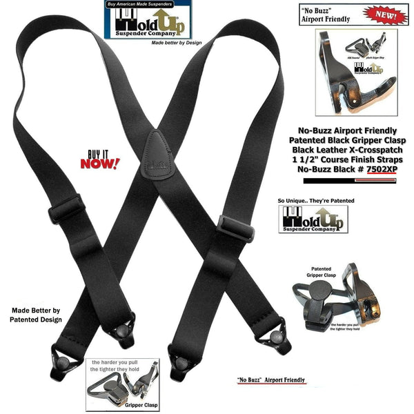 Holdup No-buzz Series Airport Friendly Black X-Back Suspenders with strong Patented Gripper Clasps
