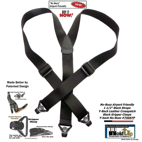 Holdup Brand No-buzz Airport Friendly Black Y-back Suspenders with Patented black Gripper Clasps