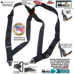 HoldUp Brand Specialty Series Black Airport Friendly Suspenders with Jumbo Gripper Clasp