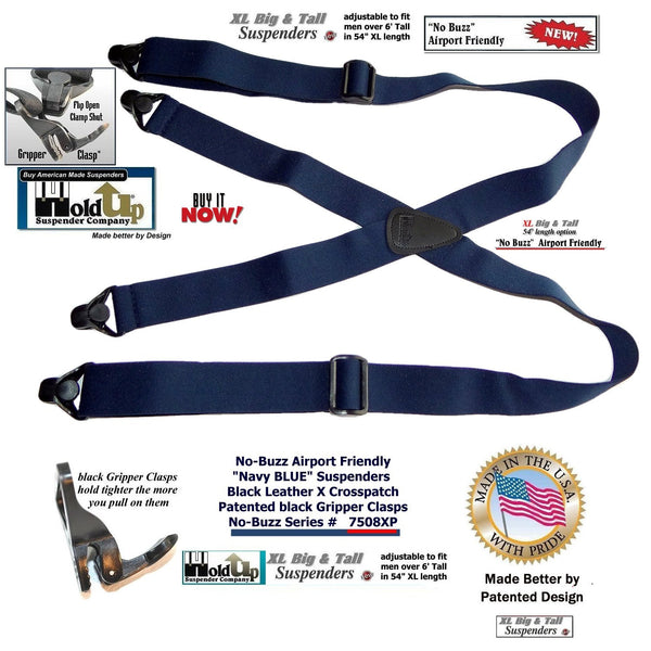 "Hold-Ups Xl 1 1/2"" No-buzz Airport Friendly Blue Suspenders Patented Gripper Clasp"