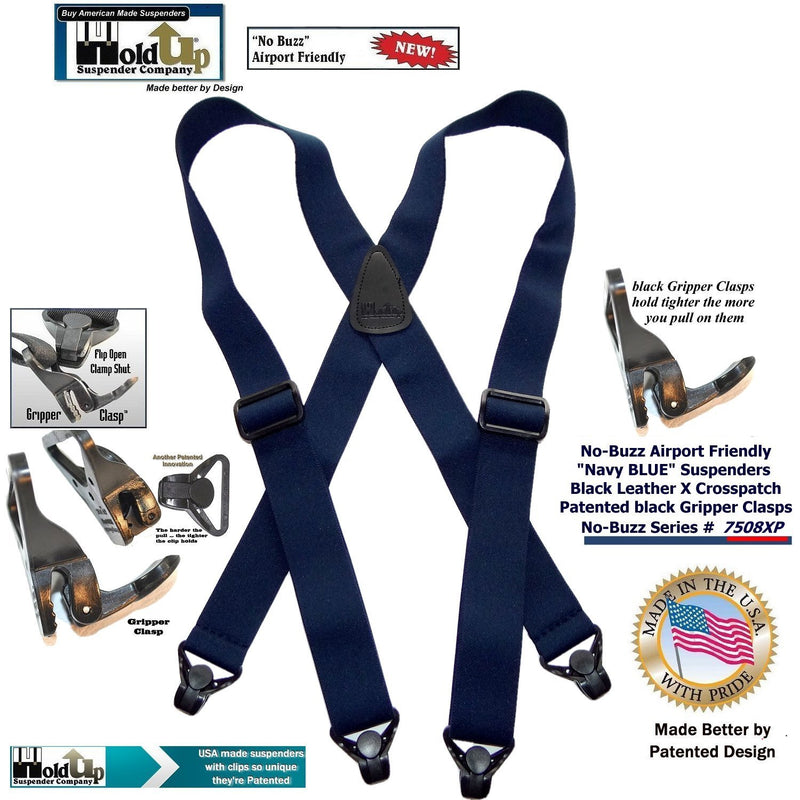 HoldUp Brand Navy Blue Airport Friendly X-back Suspenders with plastic Patented Gripper Clasps