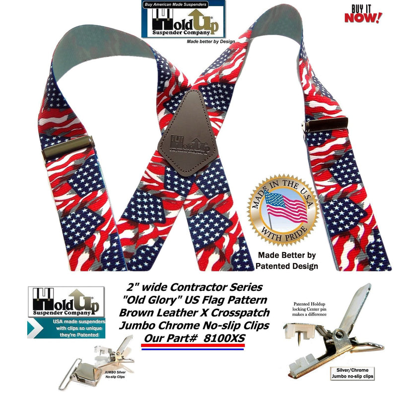 "Holdup USA Old Glory Flag Pattern 2"" Wide X-Back Suspenders with Patented No-slip Silver Clips"