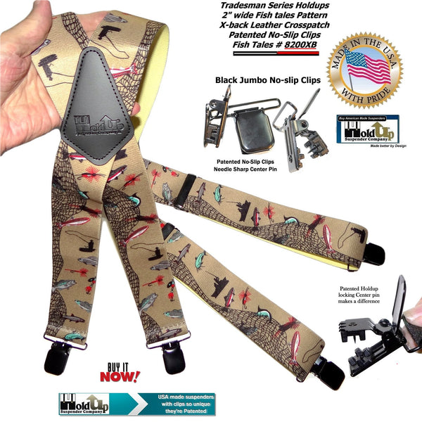 Holdup Brand Ourdoorsman Series X-back suspenders in the Fish tales pattern and jumbo patented no-slip center pin clips