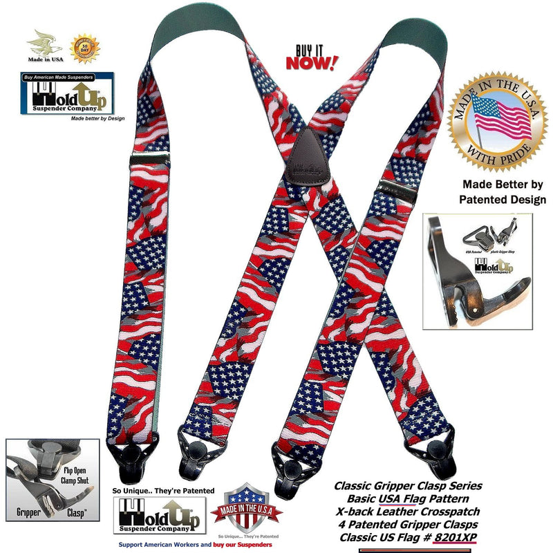 Classic Series X-back Holdup Stars and Strips Suspenders with Black Patented Gripper Clasps