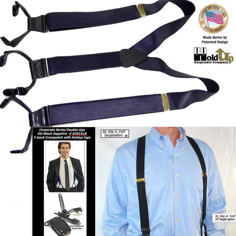 Holdup XL Corporate Series Black Sapphire Dual Clip Double-Ups style Suspenders with patented No-slip black Clips
