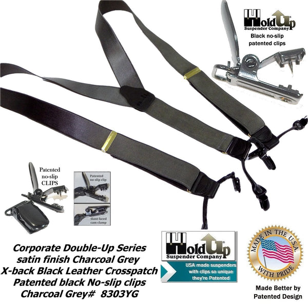 HoldUp Suspender Company Corporate Series Double-ups in Satin Finish Charcoal Gray color with black No-slip Clips