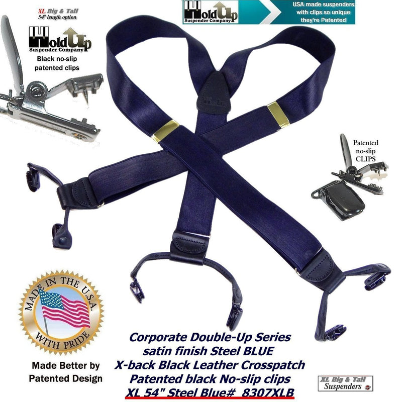HoldUp Suspender Company Big and Tall XL Satin Finished suspenders in dark Steel Blue color is part of Corporate Series Holdup Double-ups Style
