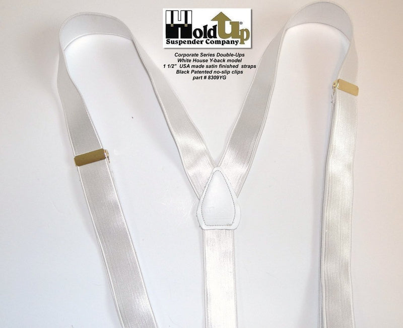 Hold-Ups Corporate Series White Satin Finish Dual Clip Double-Ups style with No-slip Clips