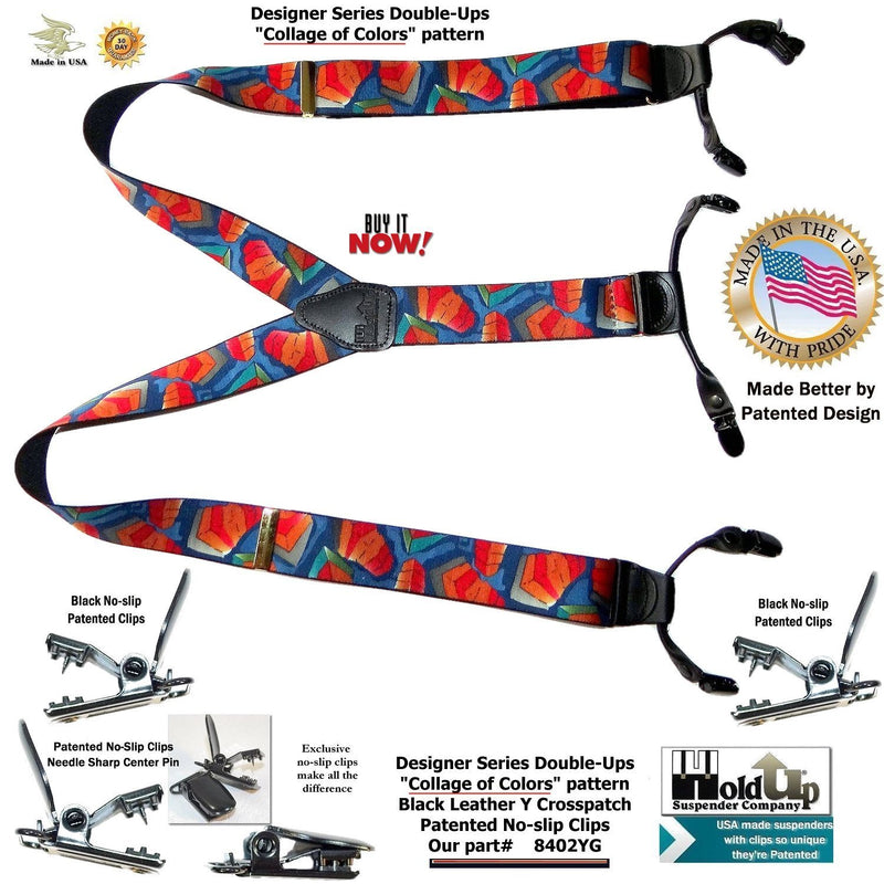 HoldUp Designer Series Collage of Colors Pattern Holdup Suspenders with patented No-slip clips