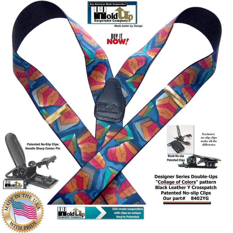 USA MADE Designer Series Double-Up Suspenders in a Collage Color Pattern with Patented No-slip Clips