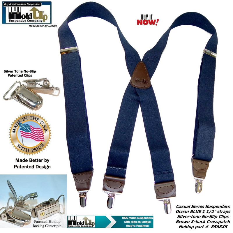 Holdup Brand Ocean Blue Casual Series Men's Suspenders in X-back Style and Patented No-slip Silver-tone Clips