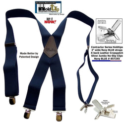 Holdup Contractor Series 2 inch wide Navy Blue wide work Suspenders with Jumbo Silver tone No-slip Clips