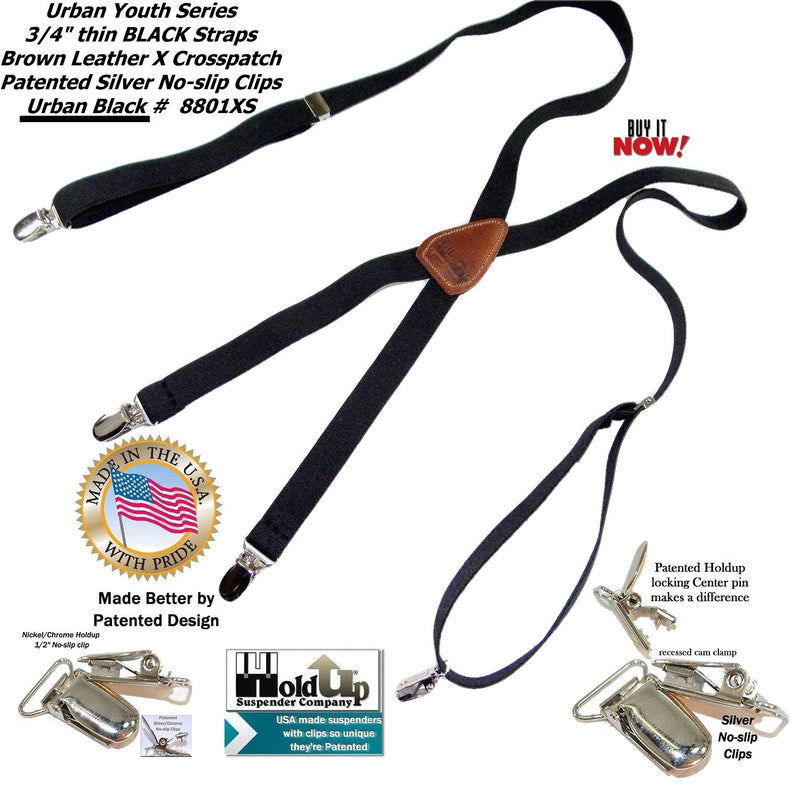 "Holdup Urban Youth 3/4"" thin Black Suspenders in X-back with Patented silver tone No-slip Clips"