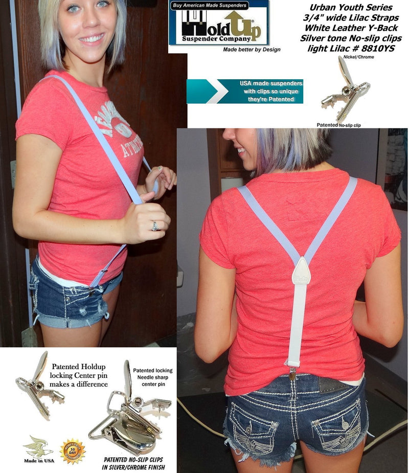 "Holdup Urban Youth Light Lilac 3/4"" teen sized Y-back Girls Suspender with Silver No-slip Clips"