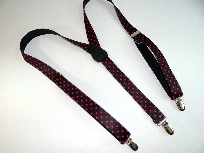 "Hold-Ups Urban Youth Pink Dots 1"" wide Suspenders in Y-back with No-slip Silver Clips"