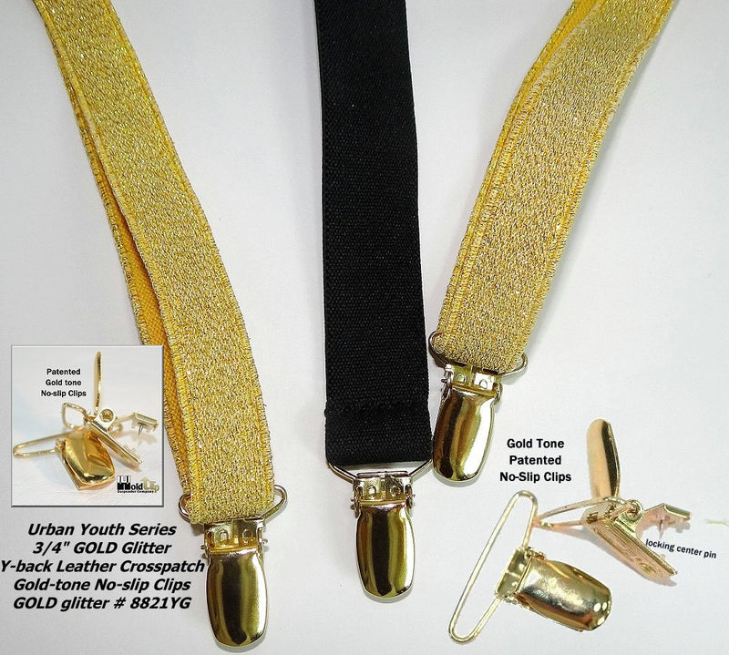 "Hold-Ups Urban Golden Glitter 3/4"" Suspenders in Y-back with gold tone metal No-slip Clips"