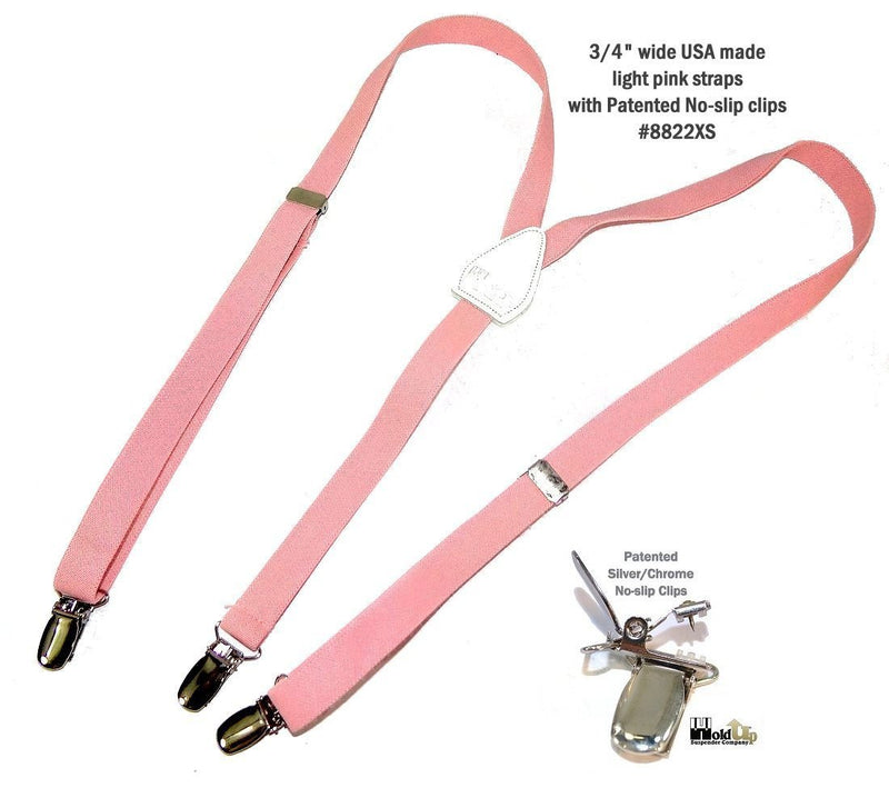 "Hold-Ups Urban Youth Light Pink 3/4"" wide  Suspender in Y-back with No-slip Clips"