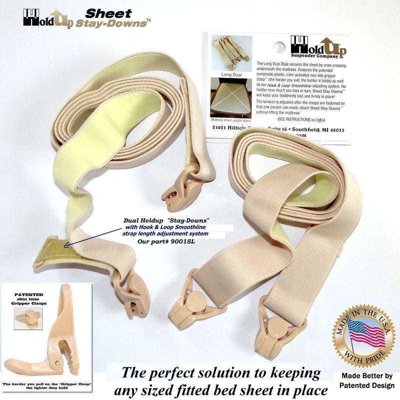 Hold-Up Crisscross long Fitted Sheet Strap called Stay-downs with US Patented Gripper Clasps
