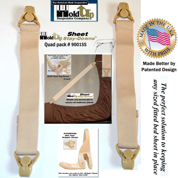Holdup Brand Adjustable Fitted Sheet Mattress Corner Straps with Patented Gripper Clasps