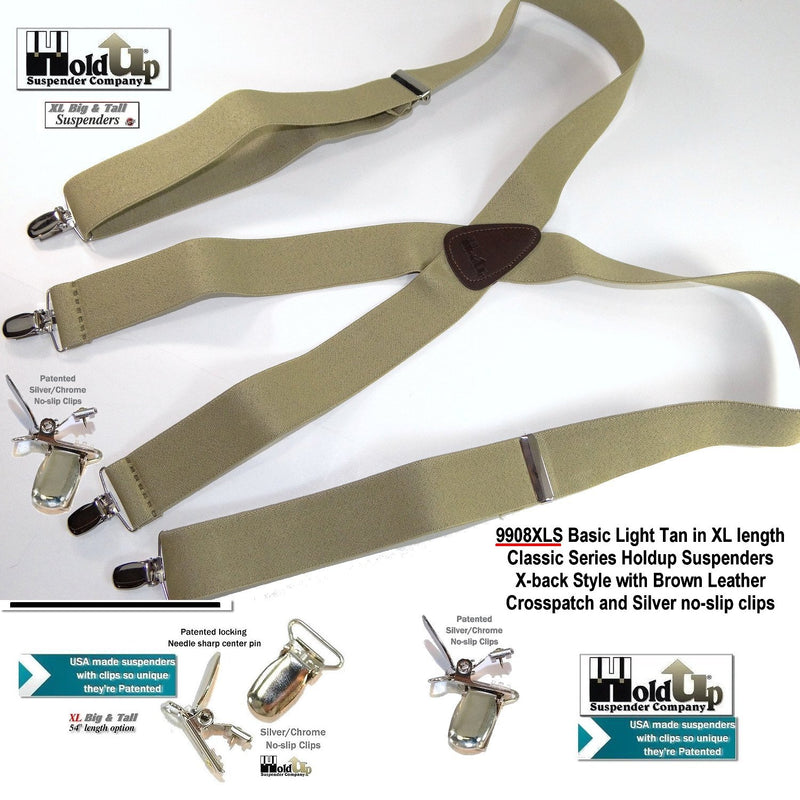 "Hold-Ups Classic tan XL suspenders 1 1/2""wide 54' long with patented silver no-slip clips"