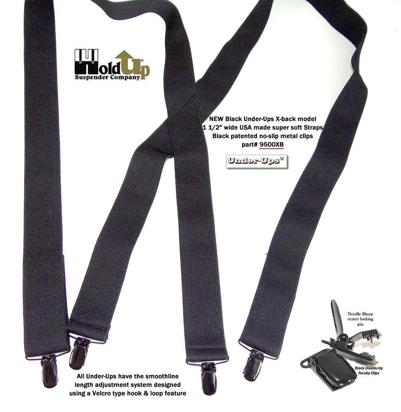 "Hold-Ups 1 1/2"" All Black Hidden Undergarment Suspenders, X-back style with No-slip Clips"