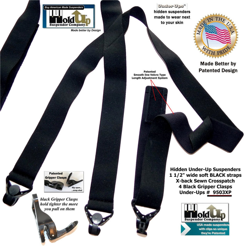 "Hold-Ups 1 1/2"" All Black Hidden Undergarment Suspenders with Patented Black Gripper Clasps"