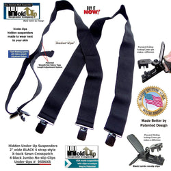 Holdup Brand Wide Black Undergarment Suspenders with Patented Black Jumbo No-slip Clips