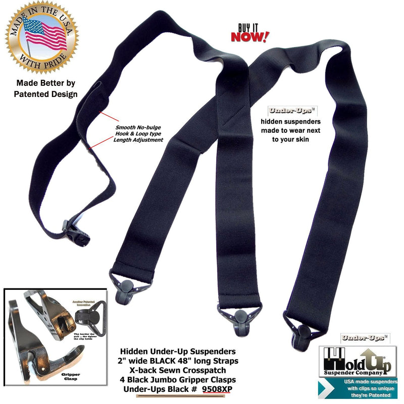 "HoldUp Brand Under-Up Series 2"" Wide Black Suspenders with Jumbo Black Gripper Clasp"