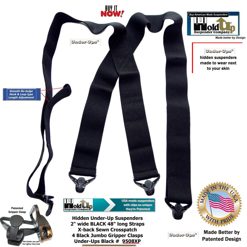 "HoldUp Brand 2"" Under-Up Series All Black hidden Suspenders with Jumbo Black Gripper Clasp"