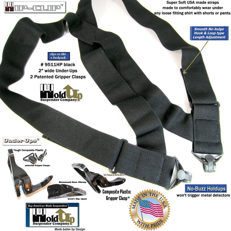 Holdup Brand Under-Up Series Black hidden side clip Suspenders with Patented Jumbo Gripper Clasps