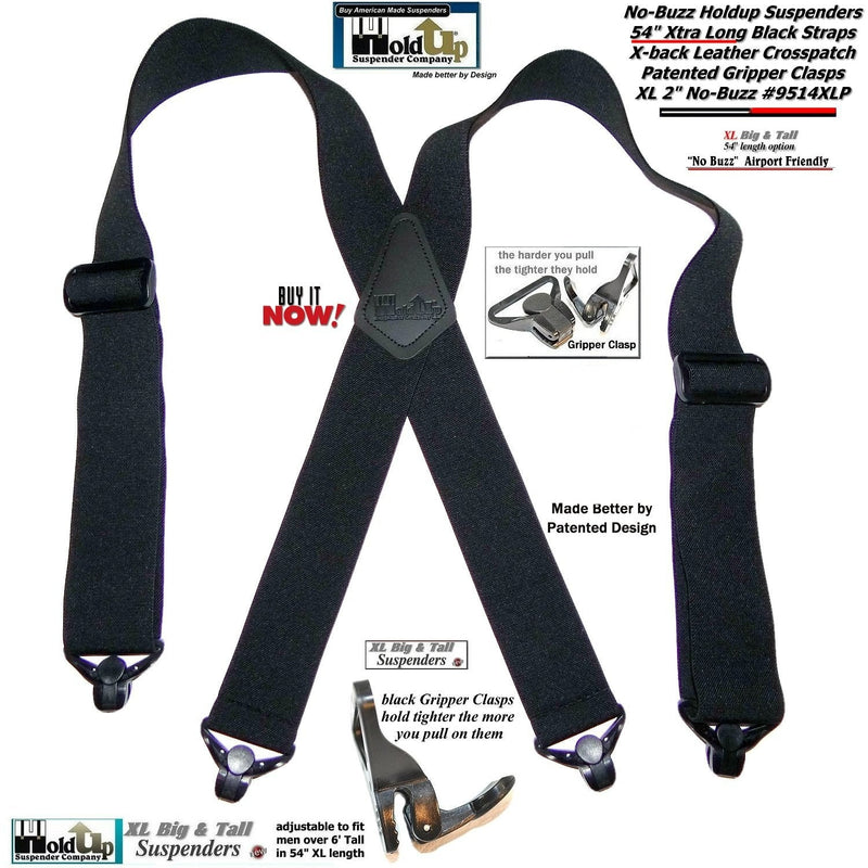 "Holdup 2"" wide XL Airport Friendly Black X-back Suspenders with 4 Patented Gripper clasps"