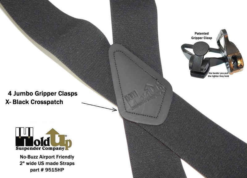 "Holdup Suspender Company's Airport Friendly Black 2"" wide Hip Clip Style Under-Ups Suspenders with our patented Black Jumbo Gripper Clasp"