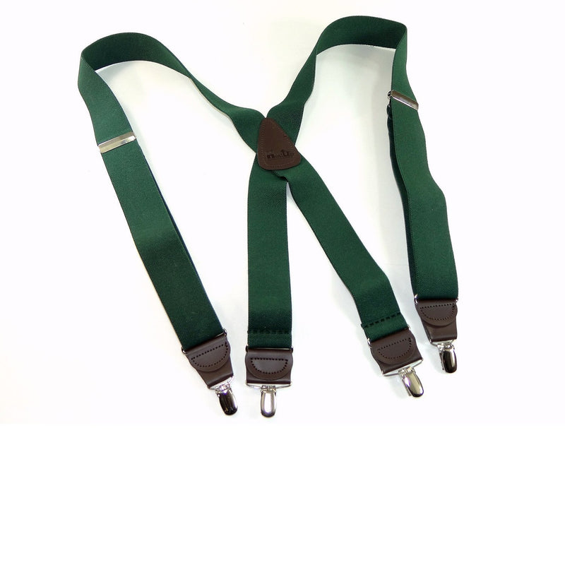 Holdup Brand Dark Hunter Green Men's Clip-On Suspenders with X-Back Style and and Silver/Chrome Clips