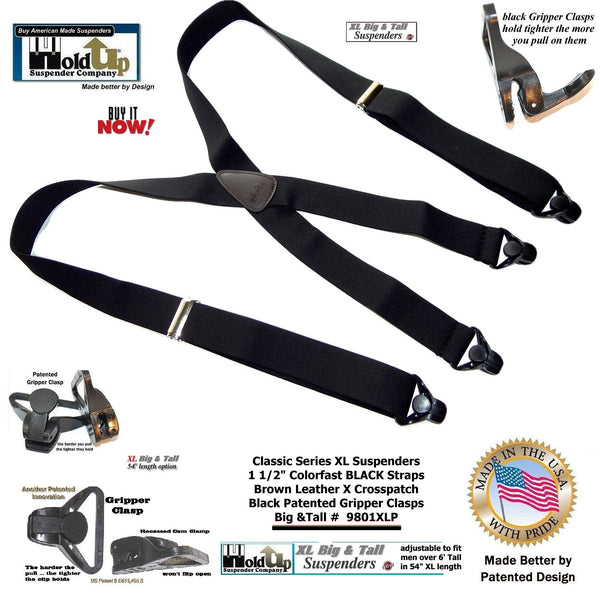Big and Tall Classic Black Holdup X-back XL Suspenders with Patented black Gripper Clasps